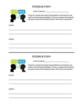 Feedback form - Glows and Grows