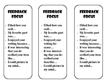 Feedback prompt cards for sharing Writing