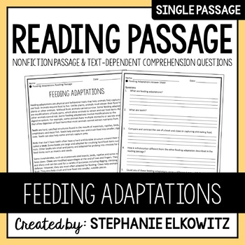 Feeding Adaptations Reading Passage