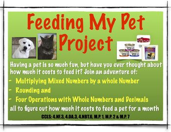 End of the Year Project - Multiplying Fractions by whole numbers- Feeding My Pet