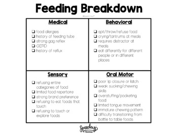 Feeding Therapy Parent Handout - Visual Breakdown for Assessment
