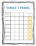 """Feeding Therapy - """"Today I Tried"""" Chart"""