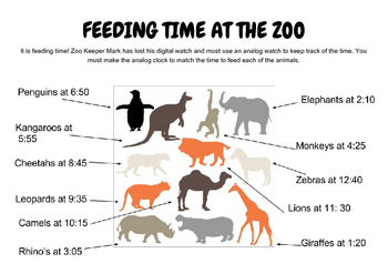 Feeding Time at the Zoo - Telling Time to 5 and 10 minute intervals