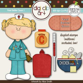 Feel Better Soon 1-  Digi Clip Art/Digital Stamps - CU Clip Art