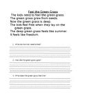 Feel the Green Grass Poem