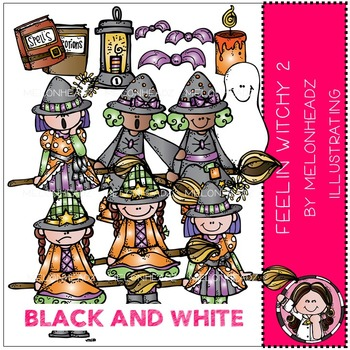 Feelin Witchy clip art Part 2 - BLACK AND WHITE- by Melonheadz
