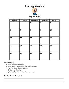 Feeling Groovy Monthly Behavior Charts