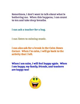 Feeling Sad or Angry Social Story