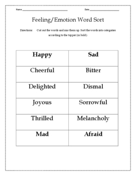 Feeling/Emotion Vocabulary