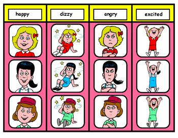 Feeling Words File Folder Matching Task for Autism: Girl
