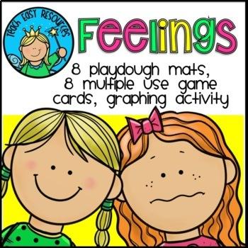 Feelings Activities - Playdough Mats, Games, Graphing Acti