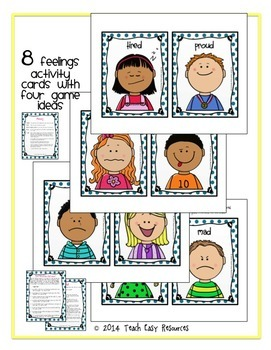 Feelings Activities - Playdough Mats, Games, Graphing Activity, Pre-K-K