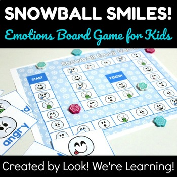 Feelings Activities for Students: Snowball Smiles! Emotions Board Game