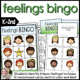 Feelings / Emotions Bingo Game K-2