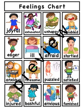 Feelings Charts Differentiated for different grades or levels