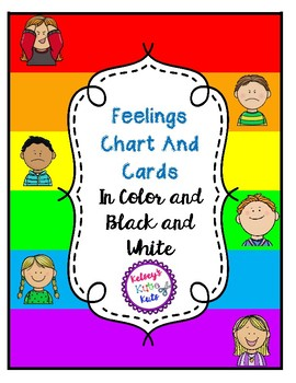 Feelings Chart and Cards In Color And Black And White