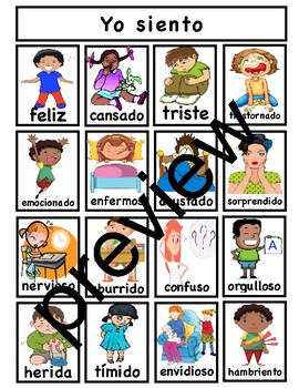 TC Feelings Charts Differentiated Spanish version for different grades or levels