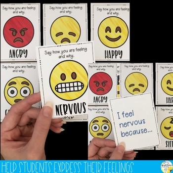 Feelings Check Prompt Cards - Emoji Emotions and Feelings Recognition