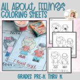 Feelings Coloring Sheets for Young Students | Preschool | Identifying Emotions