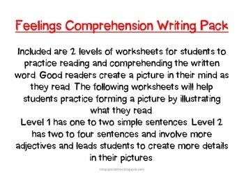 Feelings Comprehension Writing Pack
