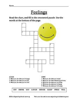 Feelings Crossword Puzzle with Bonus