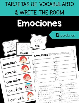 Feelings / Emociones Vocabulary Cards & Write the Room