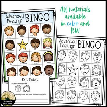 Feelings / Emotions Bingo Game Advanced K-3