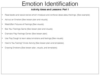 Feelings/Emotions Identification Lesson Plan Pack