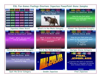Feelings-Emotions Jeopardy PowerPoint Game Slideshow CP