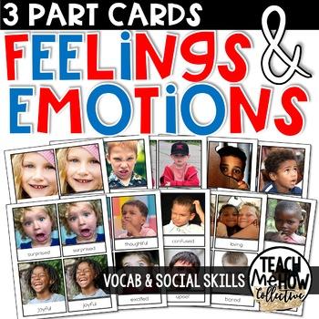 Feelings & Emotions Montessori 3-Part Cards, Vocabulary Cards