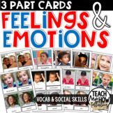 Feelings & Emotions Montessori 3-Part Cards, Vocabulary Cards