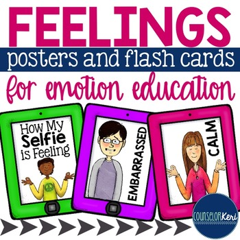 Feelings/Emotions Posters and Flash Cards - School Counseling