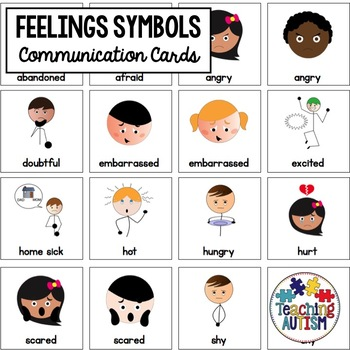Feelings/Emotions Symbol Communication Cards - Autism