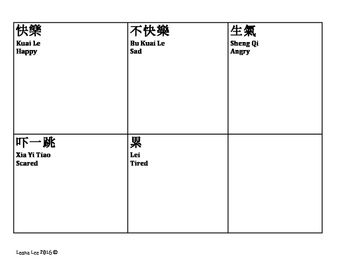 Chinese Feelings Flash Cards blank