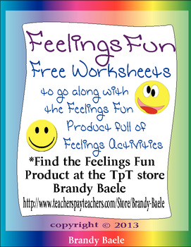 Feelings Fun Freebie - worksheets to go with the Feelings