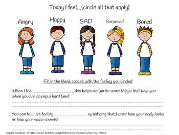 Feelings Identification Worksheet