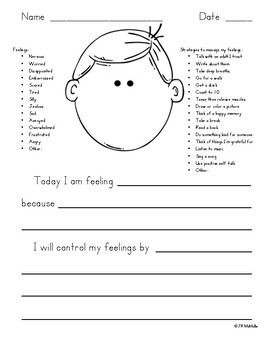 Feelings Journal- Identify the Emotion & Choose the Strategy
