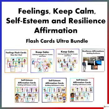 Feelings, Keep Calm,Self-Esteem, and Resilience Flash Cards Ultra Bundle