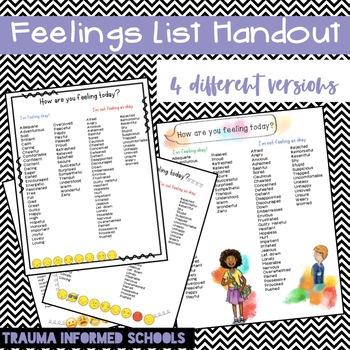 Feelings List Handout (great for Trauma-Informed Schools!)