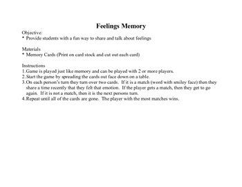 Feelings Memory Game