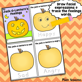 Jack-O-Lantern Feelings Mini-Book, Draw Facial Expressions & Trace Emotion Words