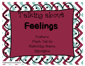 Feelings Posters, Flash Cards and Synonyms Game