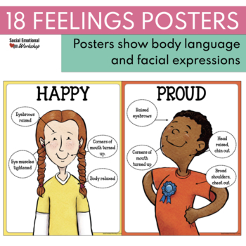 18 Feelings and Emotions Posters with Body Language and Facial Expressions