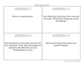 Feelings Scoot & Task Cards