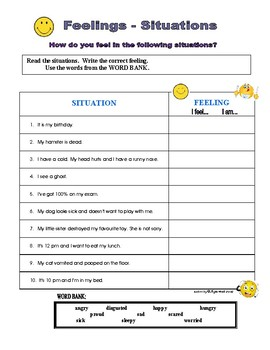 Feelings - Situations (Read & Match, Adjectives)