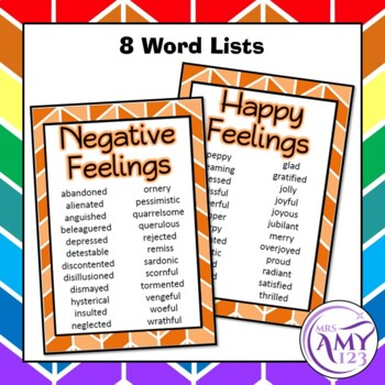 Feelings Vocabulary Pack- Word Lists, Flash Cards & Activities