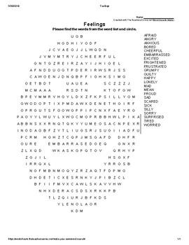 Feelings Word Search & Crossword