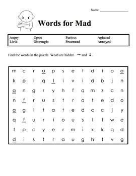 Feelings Word Search & Crossword Bundle [Zones of Self Regulation Activities]