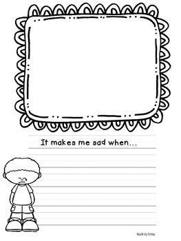 Feelings Writing Prompts with Drawing Space