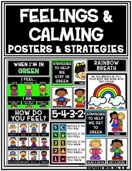 Feelings and Calming Calm Down Strategies and Posters Pack